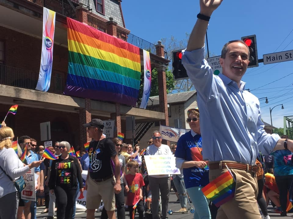 May 18, 2019: Senator Santarsiero marching in downtown New Hope during the Pride Parade