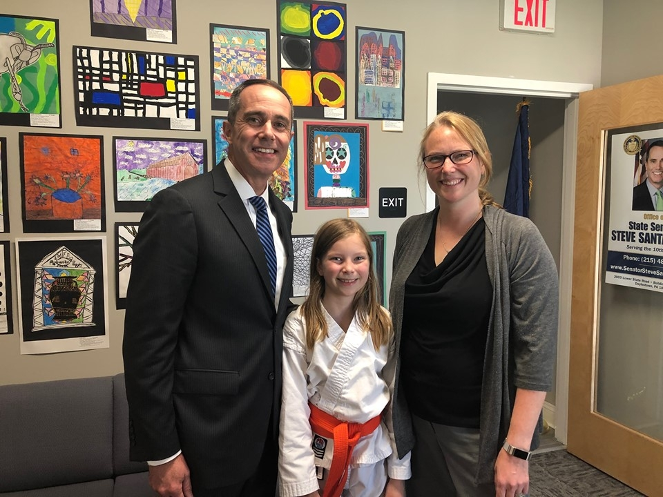 May 22, 2019: Senator Santarsiero with Doylestown Township Supervisor Jennifer Herring and her daughter Millie during his Doylestown Open House