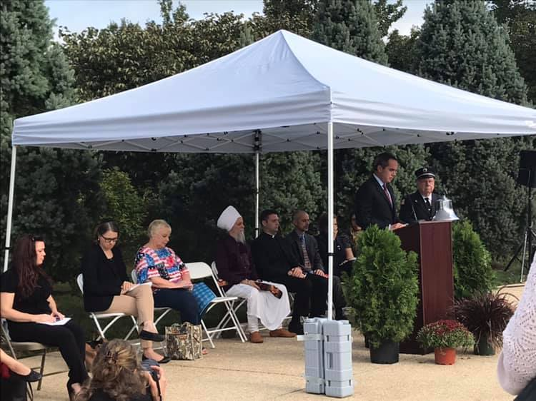 September 11, 2019: Senator Santarsiero speaking at the Garden of Reflection 9/11 Memorial in Lower Makefield.