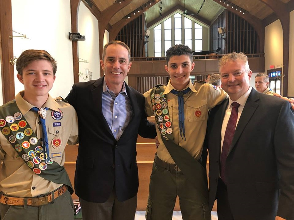 April 2019: Senator Santarsiero with Eagle Scouts Nicholas Correra and Cole Stanley of Troop 6.