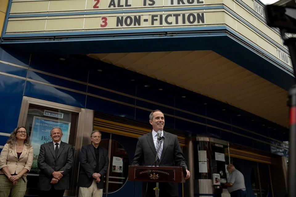 June 13, 2019: Senator Santarsiero at a press conference in front of the historic County Theater in Doylestown Borough
