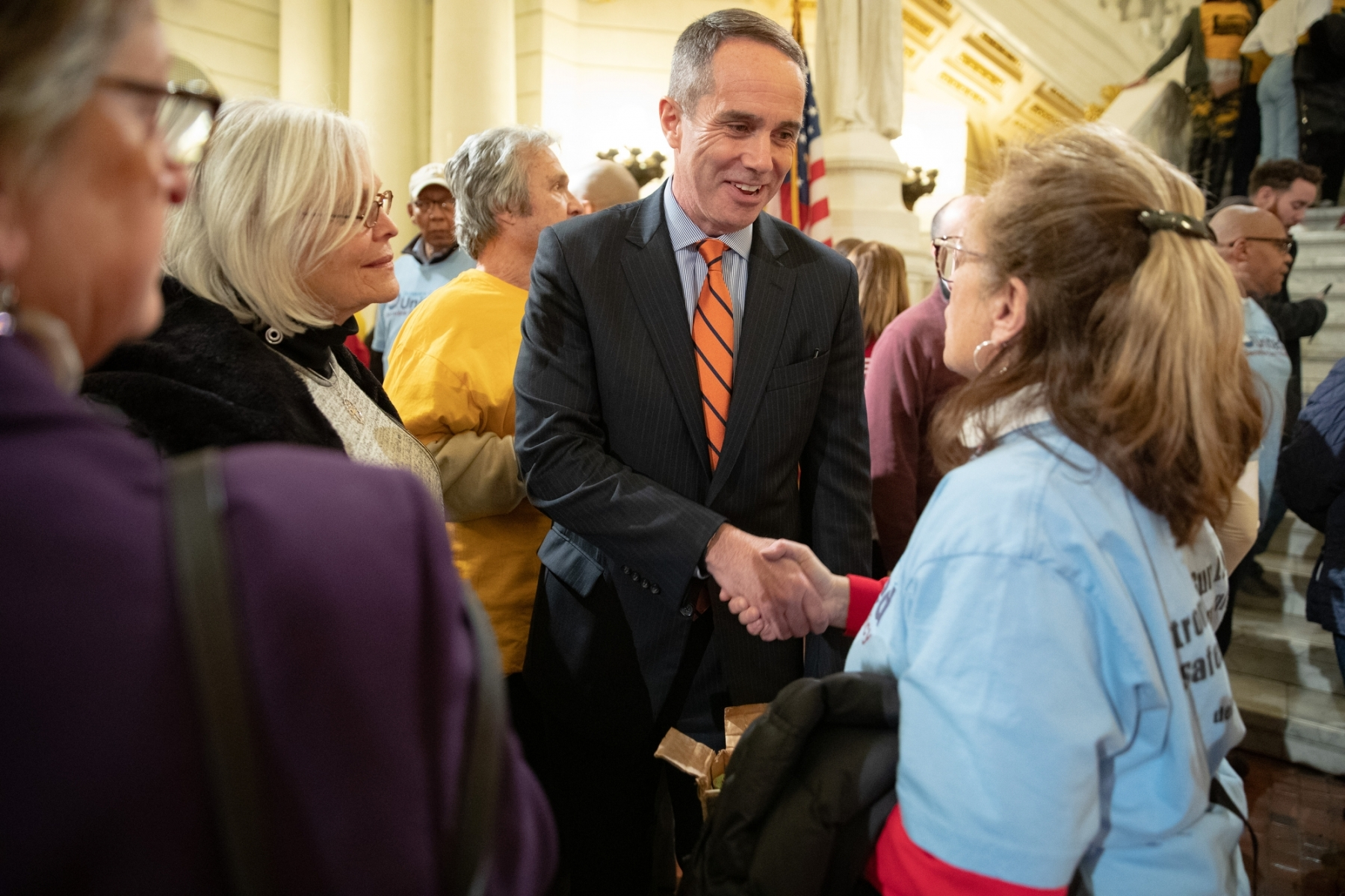January 29, 2019: Senator Steve Santarsiero joins CeaseFirePA at the Harrisburg Rotunda for a Rally For Action on gun violence in PA.