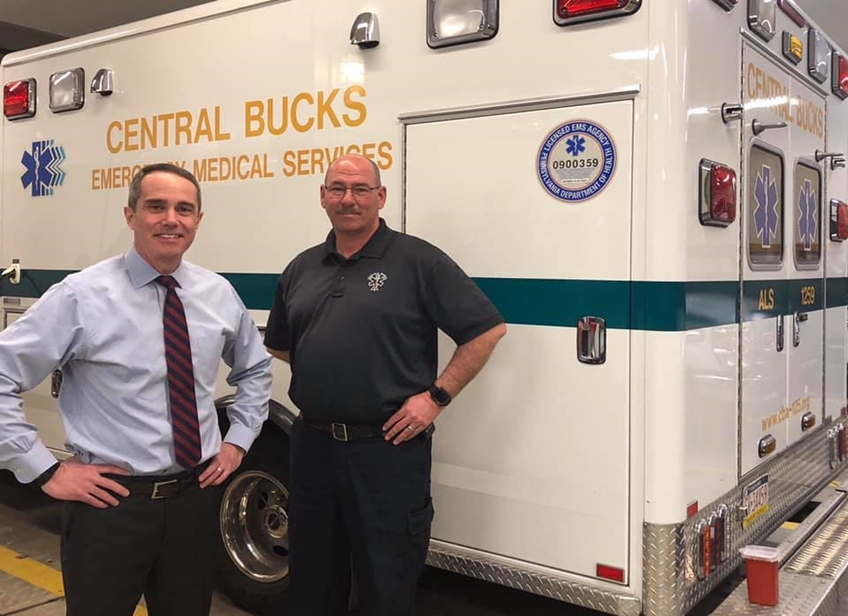 March 29, 2019: Senator Santarsiero with Central Bucks EMS Chief Chuck Pressler.