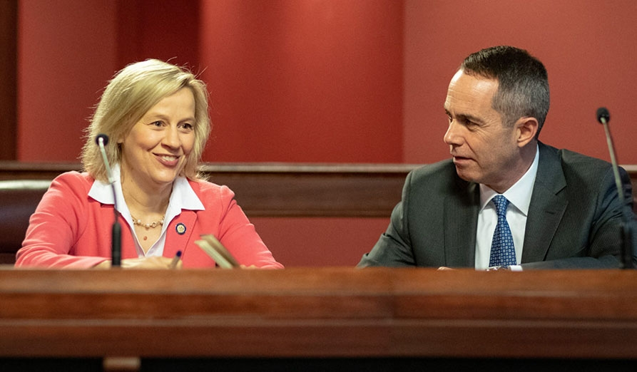 May 2019: Senator Santarsiero with Senator Collett (D-12) during a committee hearing