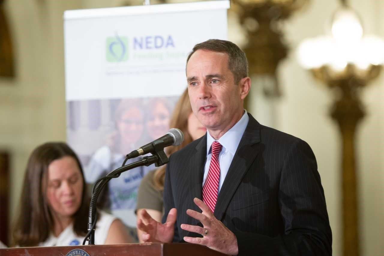 June 11, 2019: Senator Santarsiero speaking at a press conference introducing eating disorder education legislation