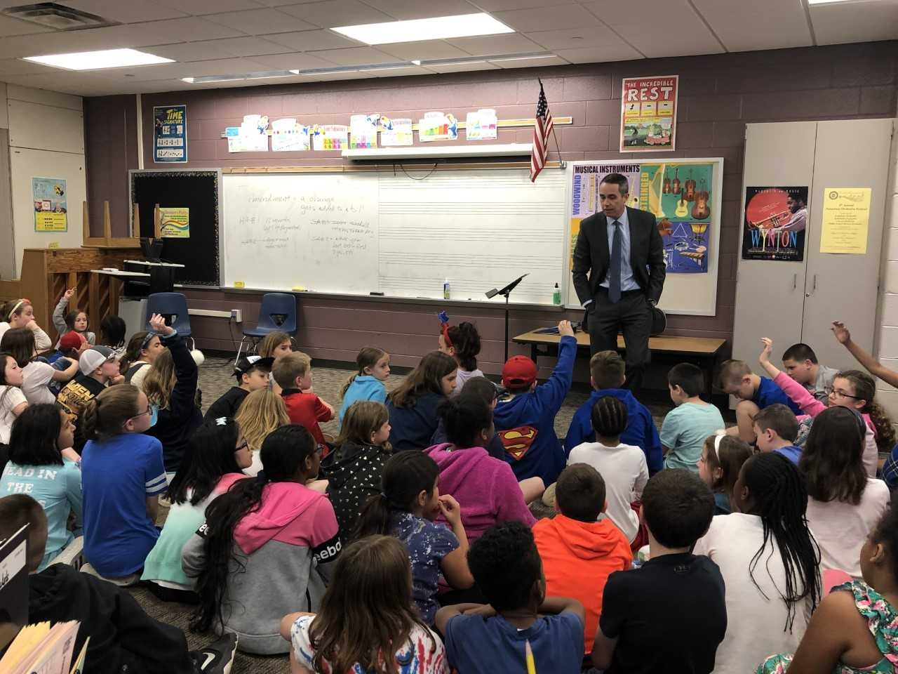 May 2019: Senator Santarsiero with Eleanor Roosevelt students as they discuss passing a new bill