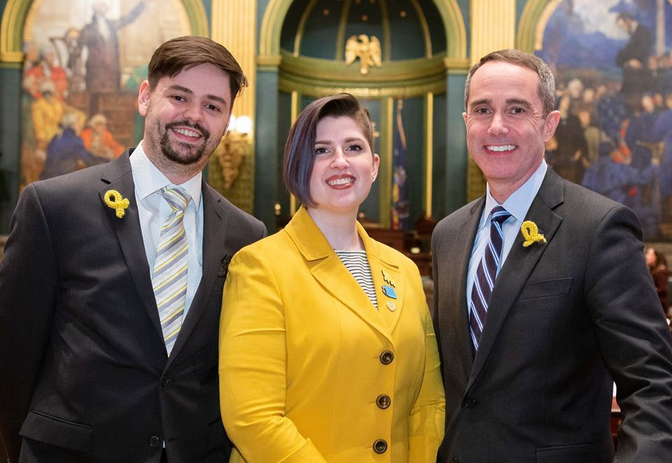 March 27, 2019: Senator Santarsiero with Chalfont residents Rachel and Ryan Leach after the senate passed a resolution recognizing March as Endometriosis Awareness Month in Pennsylvania