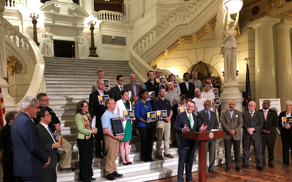 April 10, 2019: Senator Santarsiero stands with fellow legislators, business owners, and renewable energy advocates on the steps of the Capitol Rotunda in support of upgrading the Alternative Energy Portfolio Standards Act.
