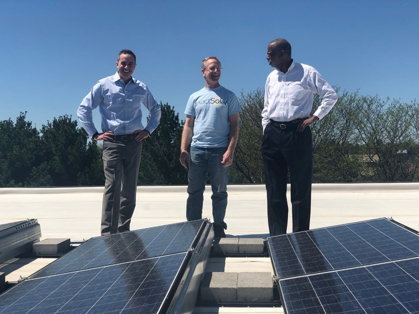 May 2019: Senator Santarsiero with Exact Solar owner Mark Bortman and Senator Art Haywood