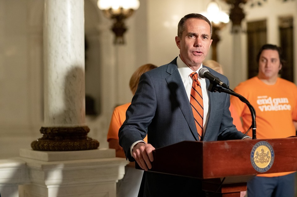 June 6, 2019: Senator Santarsiero at a Gun Violence prevention rally in the Capitol.