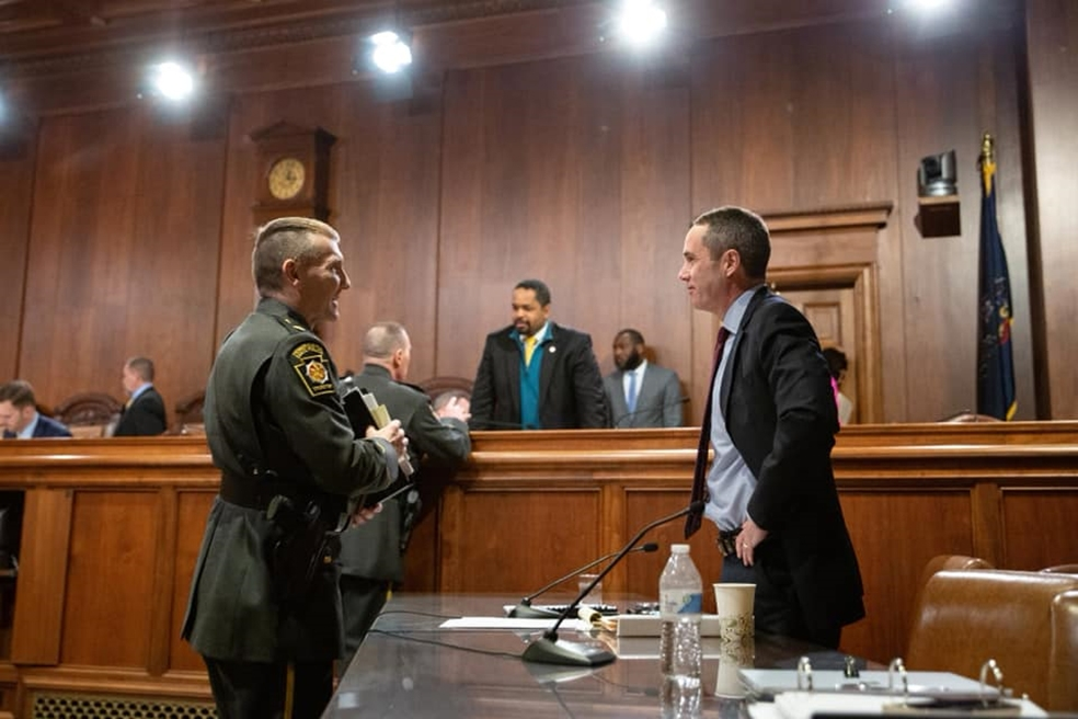 February 2019: During budget hearings, Senator Santarsiero met with leadership from the Pennsylvania State Police to discuss background checks.