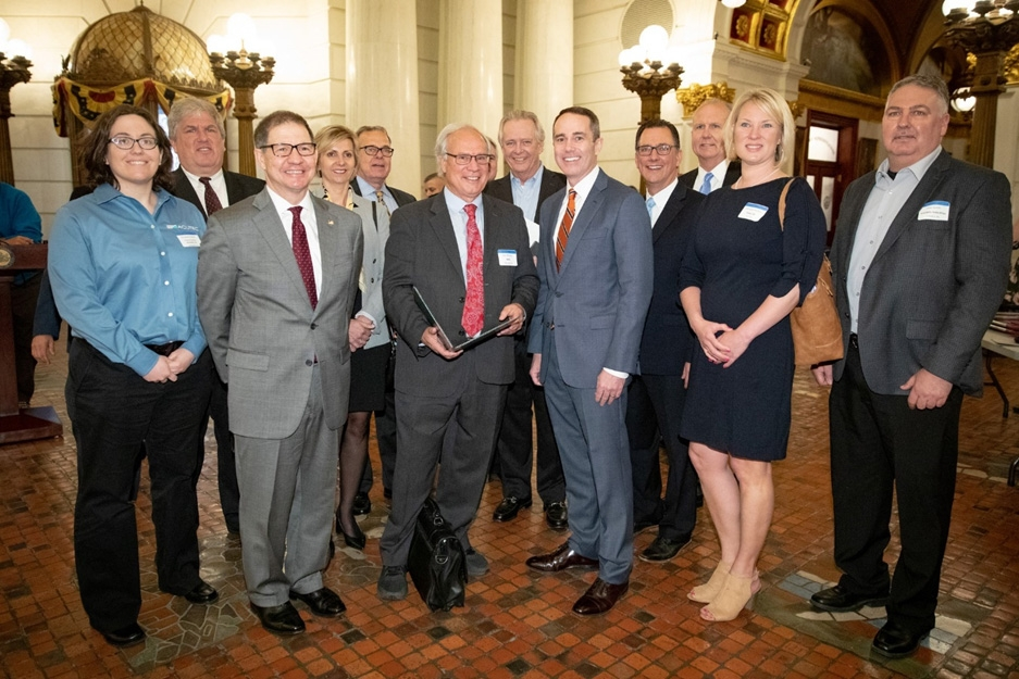 May 2019:  Senator Santarsiero with Jack Pfunder and his guests in the Capitol Rotunda in Harrisburg