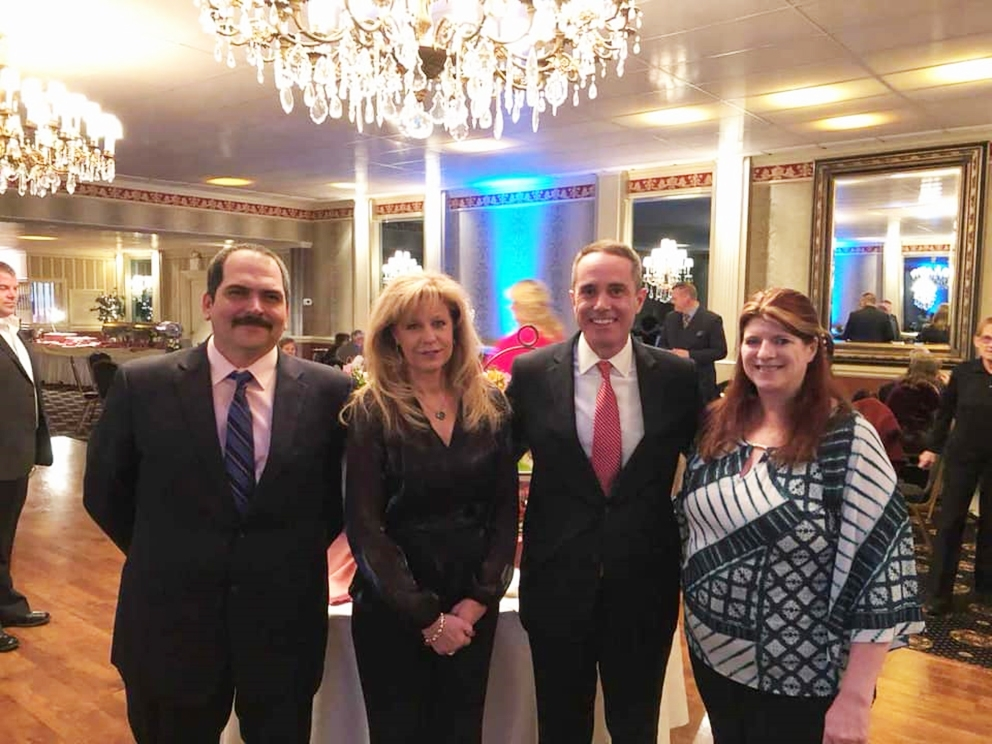 February 2019: Chris Rovenolt (25 years service), Jo Ann Campbell (25 years service), Senator Santarsiero, and Beth Hoagland (35 years service) at the Levittown Fire Company #1 annual banquet.