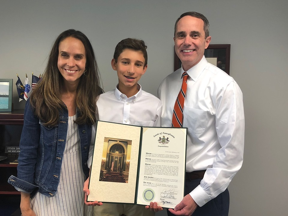 June 20, 2019: Senator Santarsiero presenting Senate Citations to Angy Bushford, a rising sophomore at Morrisville High School, and Max Ondik, from Newtown Middle School, after placing second and third in the VFW Post 6393 Voice