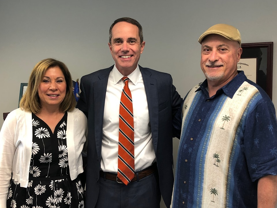 June 15, 2019: Senator Santarsiero with guests at his open house for his Newtown office .