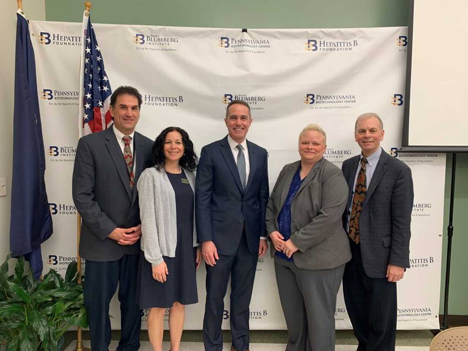 April 23, 2019: Senator Santarsiero with Pennsylvania Budget Secretary Jen Swails at the Pennsylvania Biotechnology Center of Bucks County in Doylestown