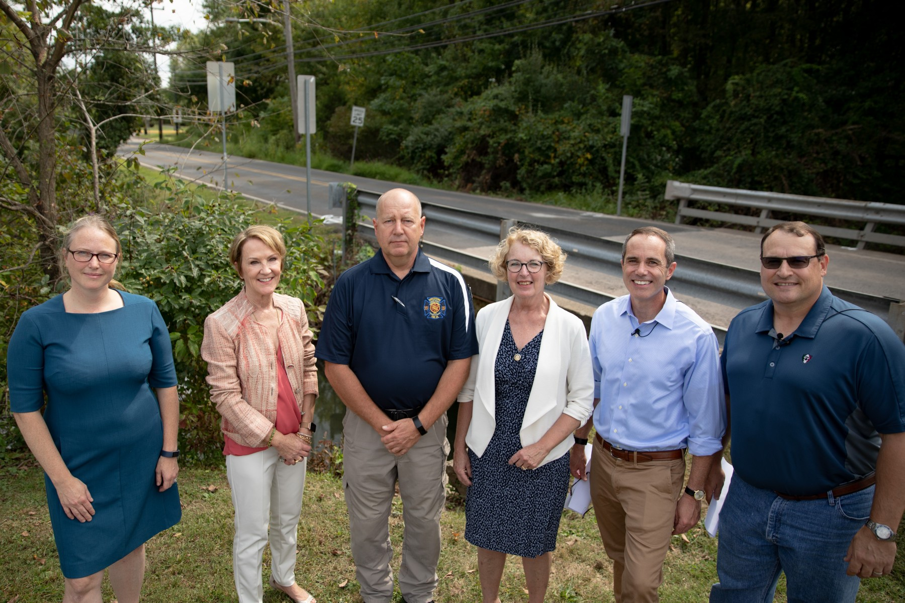 September 10, 2019: Senator Santarsiero with Representative Wendy Ullman (D-143), Doylestown Township officials, and a PennDOT representative at the Limekiln Road bridge.