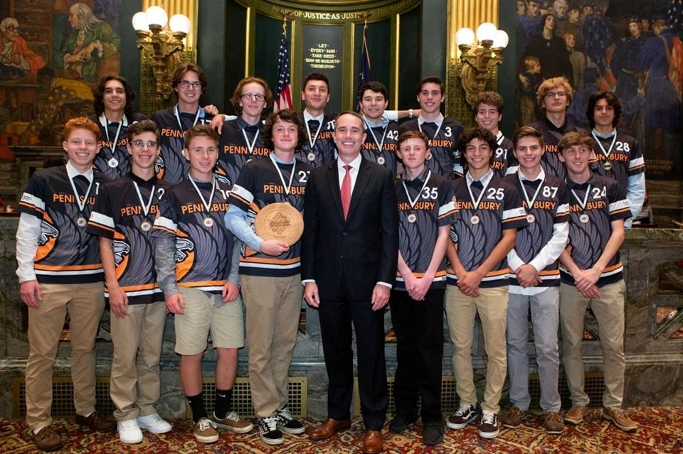 June 19, 2019:  Senator Santarsiero on the senate floor with the Pennsbury Ultimate Frisbee team