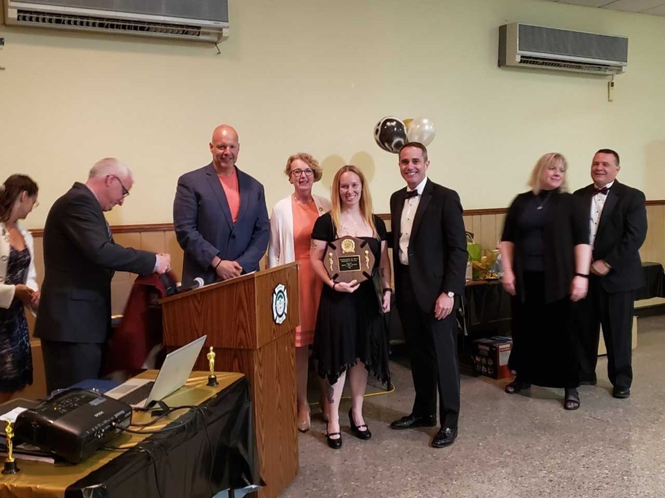 April 30, 2019: Senator Santarsiero at the Plumsteadville Volunteer Fire Company's annual banquet with Rep. Wendy Ullman