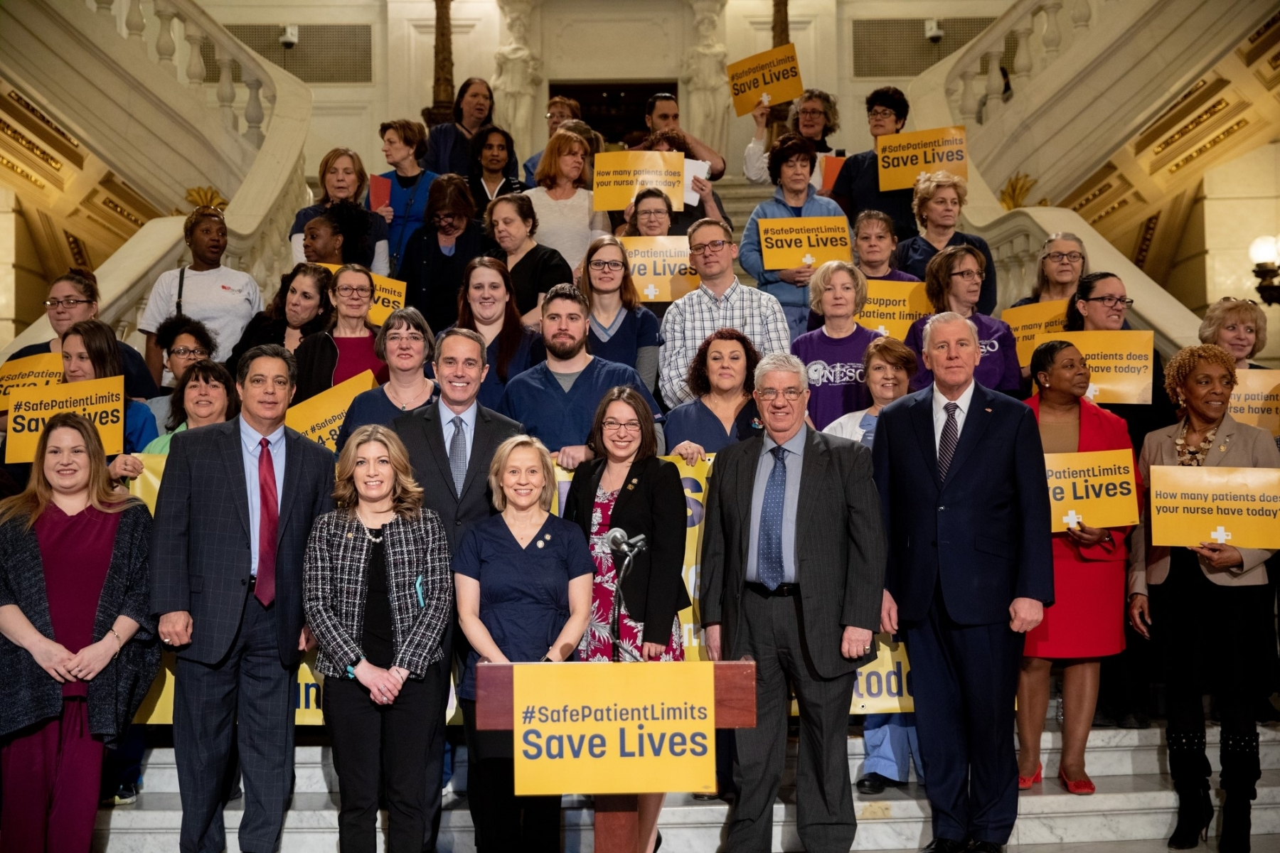 March 20, 2019: Senator Steve Santarsiero joins Senator Maria Collett, RN, Rep. Gene DiGirolamo and fellow legislators for a press conference announcing legislation to set safe nurse-to-patient limits in Pennsylvania hospitals.