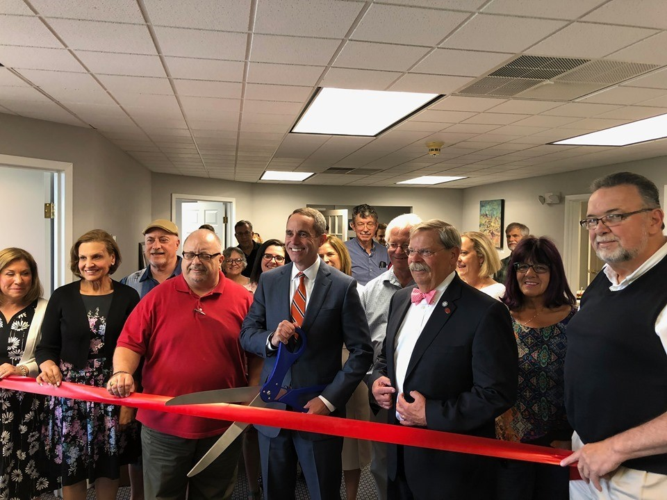 June 15, 2019: Senator Santarsiero with local residents, business owners, and officials as he cut the ribbon for his district office in Newtown